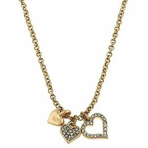 Jewelry - Goldtone and Crystal Triple Heart Necklace
